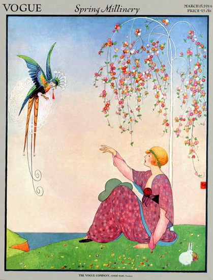 Vogue Copyright 1914 Spring Millinery Lady Bird Of Paradise | Sex Appeal Vintage Ads and Covers 1891-1970