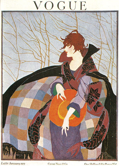 Vogue Copyright 1919 Art Nouveau Lady In Colorful Coat | Sex Appeal Vintage Ads and Covers 1891-1970