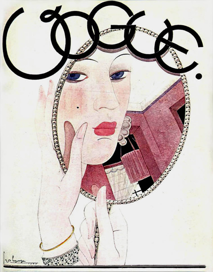 Vogue Copyright 1927 Makeup Mirror Georges Lapape | Sex Appeal Vintage Ads and Covers 1891-1970