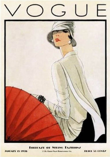 Vogue Copyright 1928 Forecast Of Spring Fashion Umbrella | Sex Appeal Vintage Ads and Covers 1891-1970