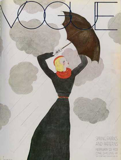 Vogue Copyright 1932 Spring Fabrics And Patterns Umbrella | Sex Appeal Vintage Ads and Covers 1891-1970