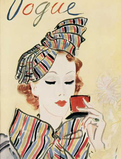 Vogue Copyright 1935 Colorful Lady And The Makeup Mirror | Sex Appeal Vintage Ads and Covers 1891-1970