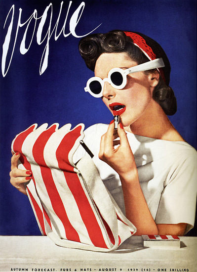 Vogue Copyright 1939 Lipstick Lady Autumn Forecast Hats | Sex Appeal Vintage Ads and Covers 1891-1970