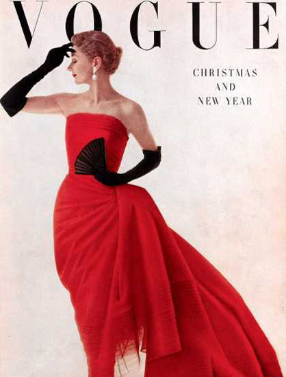 Vogue Copyright 1950 Lady In Red Christmas New Year | Sex Appeal Vintage Ads and Covers 1891-1970