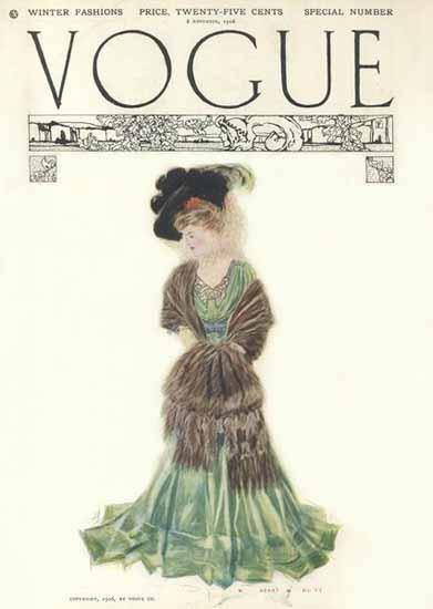 Vogue Cover 1906-11-08 Copyright | Vogue Magazine Graphic Art Covers 1902-1958