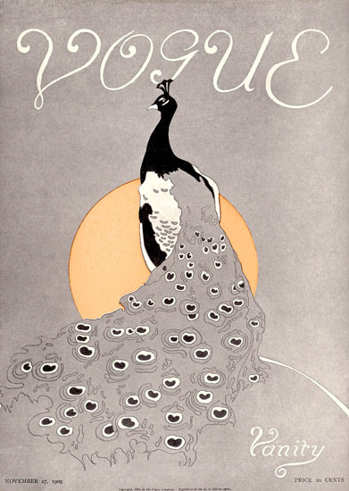 Vogue Cover Copyright 1909 Vanity The Peacock | Vintage Ad and Cover Art 1891-1970