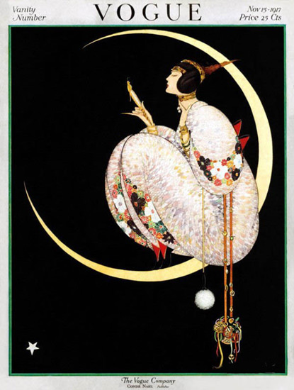 Vogue Cover Copyright 1917 Lady On The Moon | Sex Appeal Vintage Ads and Covers 1891-1970