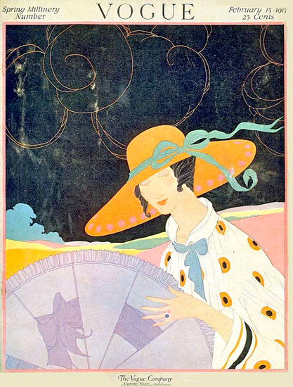 Vogue Cover Copyright 1917 Lady With Sun Hat | Sex Appeal Vintage Ads and Covers 1891-1970