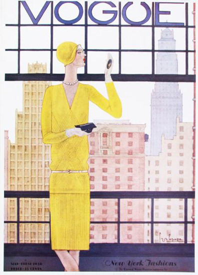 Vogue Cover Copyright 1918 New York Fashion Skyline | Sex Appeal Vintage Ads and Covers 1891-1970