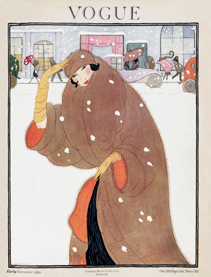 Vogue Cover Copyright 1920 Lady In The Snow | Sex Appeal Vintage Ads and Covers 1891-1970