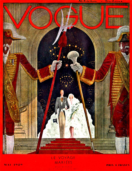 Vogue Cover Copyright 1929 France Le Voyage Mariees | Vintage Ad and Cover Art 1891-1970