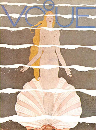 Vogue Cover Copyright 1931 Mermaid And Shell | Sex Appeal Vintage Ads and Covers 1891-1970