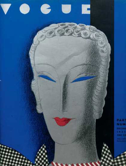 Vogue Cover Copyright 1932 Blue Number | Vintage Ad and Cover Art 1891-1970