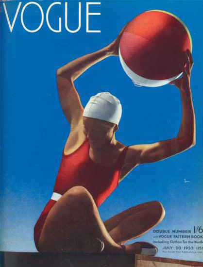 Vogue Cover Copyright 1932 Girl In Swim Suit And Ball | Sex Appeal Vintage Ads and Covers 1891-1970