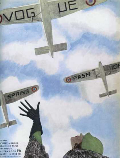 Vogue Cover Copyright 1932 Spring Fashion Airplanes | Vintage Ad and Cover Art 1891-1970
