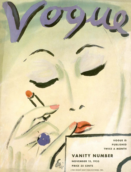 Vogue Cover Copyright 1933 Vanity Number Make-Up Lady | Sex Appeal Vintage Ads and Covers 1891-1970