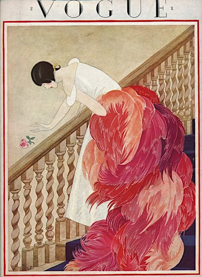 Vogue Cover Feather Lady On The Stairs | Sex Appeal Vintage Ads and Covers 1891-1970
