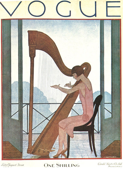 Vogue Cover Lady And The Harp | Sex Appeal Vintage Ads and Covers 1891-1970