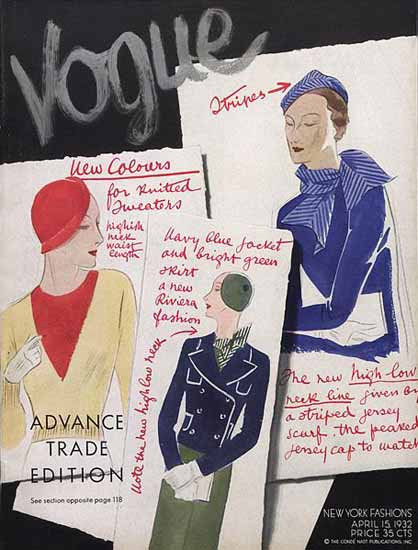 Vogue Magazine 1932-04-15 Copyright | Vogue Magazine Graphic Art Covers 1902-1958