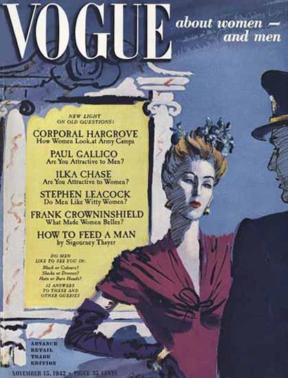 Vogue Magazine 1942-11-15 Copyright | Vogue Magazine Graphic Art Covers 1902-1958