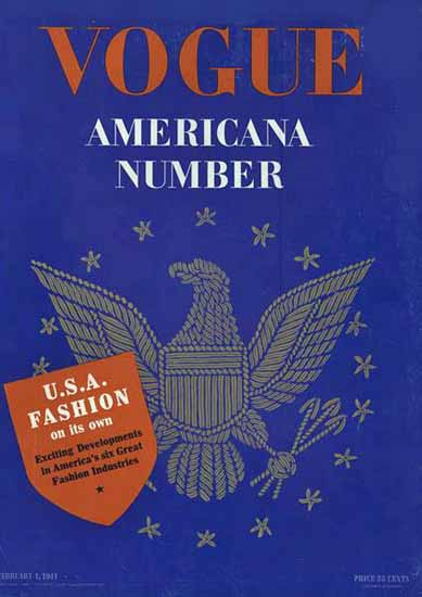 Vogue Magazine Americana Number 1941-02-01 Copyright | Vogue Magazine Graphic Art Covers 1902-1958