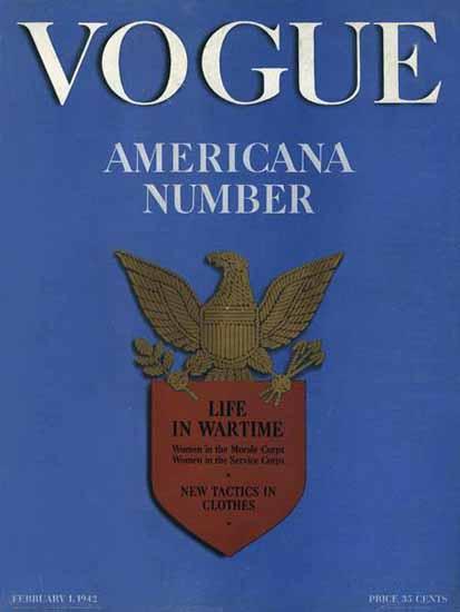 Vogue Magazine Americana Number 1942-02-01 Copyright | Vogue Magazine Graphic Art Covers 1902-1958