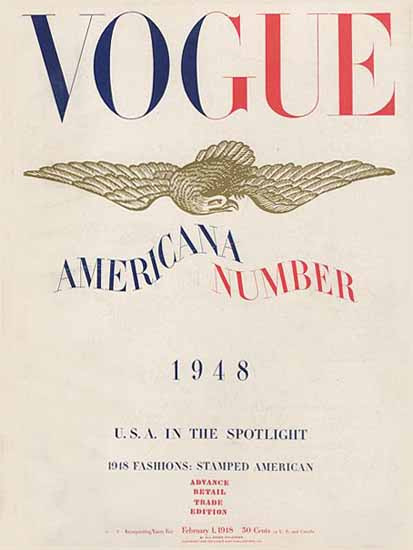 Vogue Magazine Americana Number 1948-02-01 Copyright | Vogue Magazine Graphic Art Covers 1902-1958