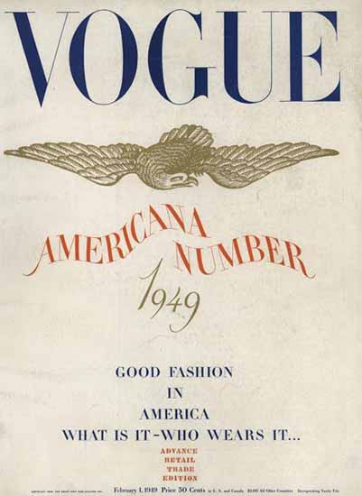 Vogue Magazine Americana Number 1949-02-01 Copyright | Vogue Magazine Graphic Art Covers 1902-1958