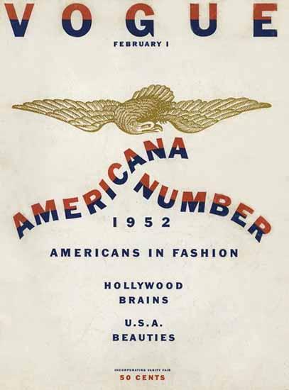 Vogue Magazine Americana Number 1952-02-01 Copyright | Vogue Magazine Graphic Art Covers 1902-1958