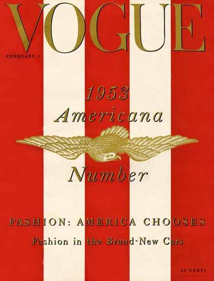 Vogue Magazine Americana Number 1953-02-01 Copyright | Vogue Magazine Graphic Art Covers 1902-1958