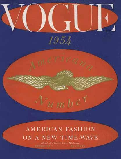 Vogue Magazine Americana Number 1954-02-01 Copyright | Vogue Magazine Graphic Art Covers 1902-1958