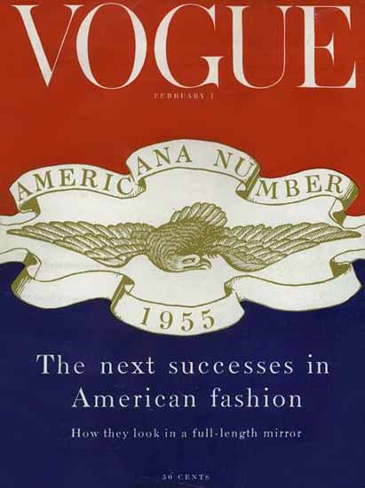Vogue Magazine Americana Number 1955-02-01 Copyright | Vogue Magazine Graphic Art Covers 1902-1958