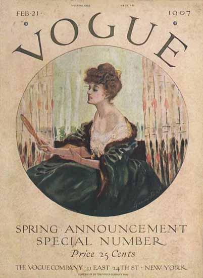 Vogue Magazine Cover 1907-02-21 Copyright   Vogue Magazine Graphic Art Covers 1902-1958