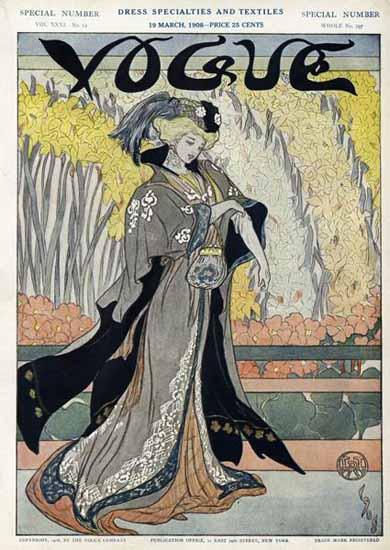 Vogue Magazine Cover 1908-03-19 Copyright | Vogue Magazine Graphic Art Covers 1902-1958
