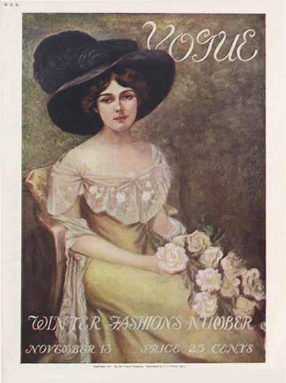 Vogue Magazine Cover 1909-11-13 Copyright | Vogue Magazine Graphic Art Covers 1902-1958