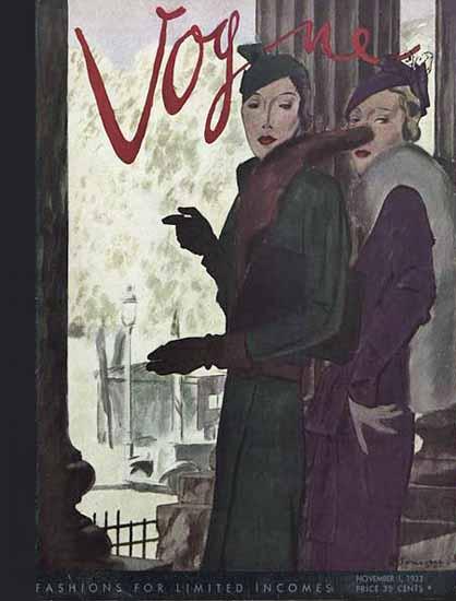 Vogue Magazine Cover 1933-11-01 Copyright | Vogue Magazine Graphic Art Covers 1902-1958