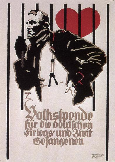 Volksspende für Die Gefangenen War Prisoner   Vintage War Propaganda Posters 1891-1970