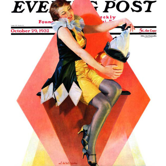 W Wilkinson Saturday Evening Post Harlequin 1932_10_29 Copyright crop | Best of 1930s Ad and Cover Art