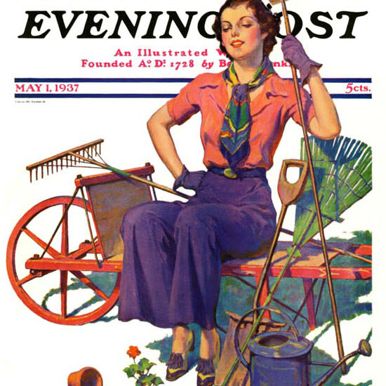 WD Stevens Saturday Evening Post Geranium 1937_05_01 Copyright crop | Best of 1930s Ad and Cover Art