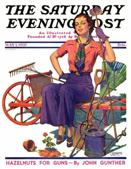 WD Stevens Saturday Evening Post Geranium Gardener 1937_05_01 | The Saturday Evening Post Graphic Art Covers 1931-1969