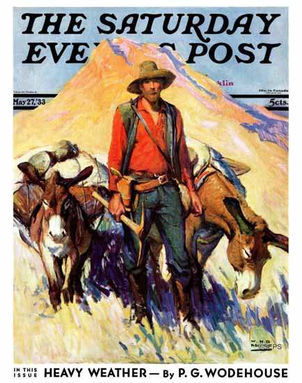 WHD Koerner Saturday Evening Post Miner and Donkeys 1933_05_27 | The Saturday Evening Post Graphic Art Covers 1931-1969