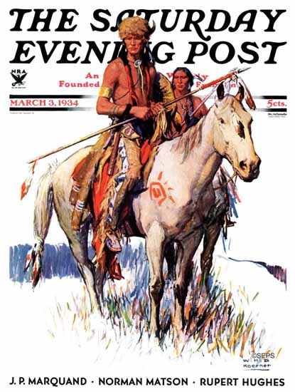 WHD Koerner Saturday Evening Post Plains Indians 1934_03_03 | The Saturday Evening Post Graphic Art Covers 1931-1969