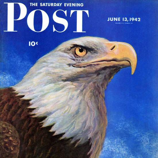 WW Calvert Saturday Evening Post Bald Eagle 1942_06_13 Copyright crop   Best of Vintage Cover Art 1900-1970