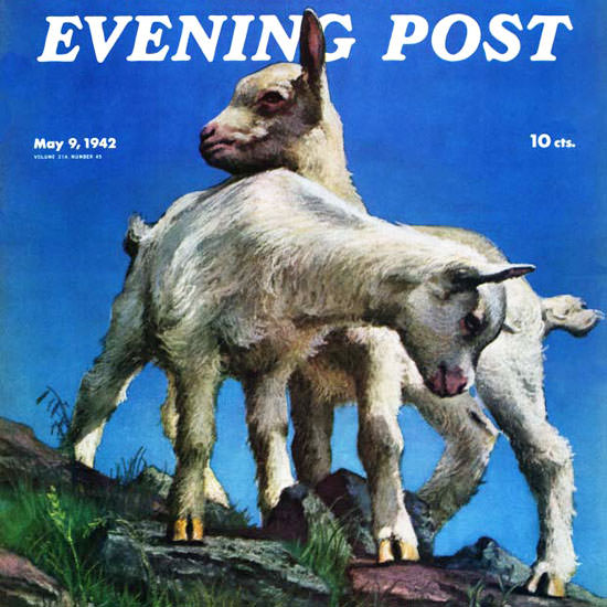 WW Calvert Saturday Evening Post Kid Goats 1942_05_09 Copyright crop | Best of Vintage Cover Art 1900-1970