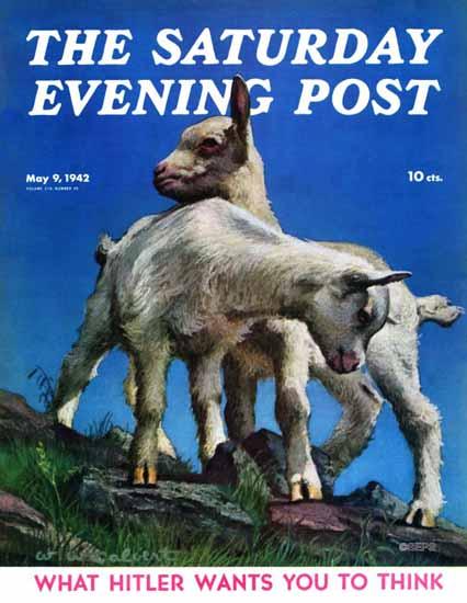 WW Calvert Saturday Evening Post Two Kid Goats 1942_05_09 | The Saturday Evening Post Graphic Art Covers 1931-1969