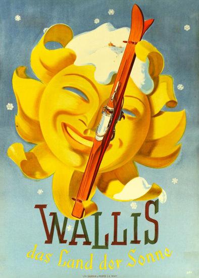 Wallis Das Land Der Sonne Switzerland 1947 | Vintage Travel Posters 1891-1970