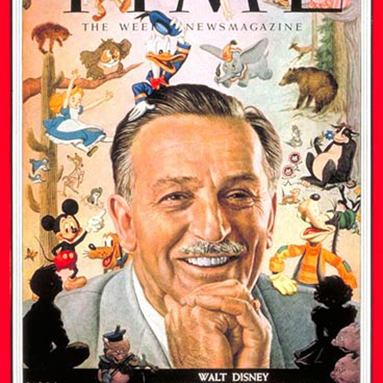 Walt Disney Time Magazine 1954-12 by Boris Chaliapin crop | Best of Vintage Cover Art 1900-1970