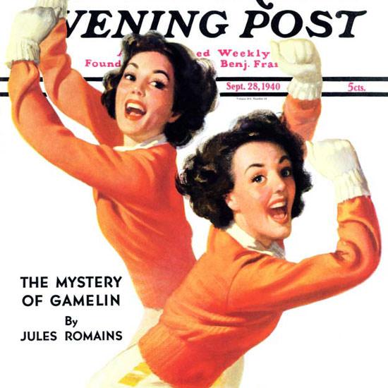 Walt Otto Saturday Evening Post Cheerleaders 1940_09_28 Copyright crop | Best of Vintage Cover Art 1900-1970