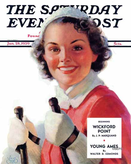 Walt Otto Saturday Evening Post Ready to Go Downhill 1939_01_28 | The Saturday Evening Post Graphic Art Covers 1931-1969