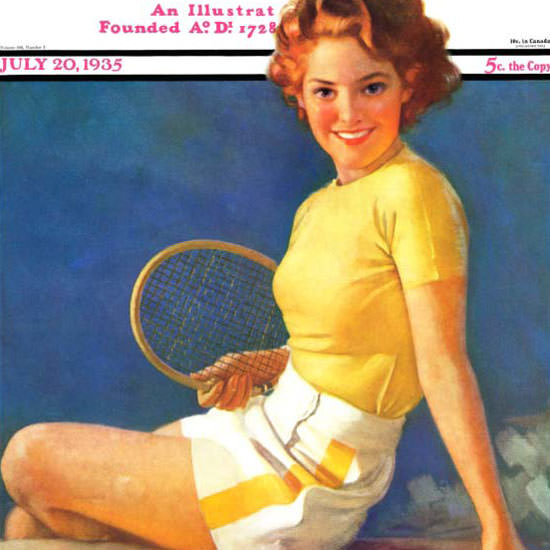 Walt Otto Saturday Evening Post Tennis 1935_07_20 Copyright crop | Best of Vintage Cover Art 1900-1970
